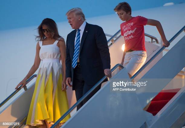 US President Donald Trump First Lady Melania Trump and son Barron disembark from Air Force One upon arrival at Andrews Air Force Base in Maryland...