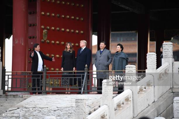 US President Donald Trump First Lady Melania Trump China's President Xi Jinping and his wife Peng Liyuan take a tour of the Forbidden City in Beijing...