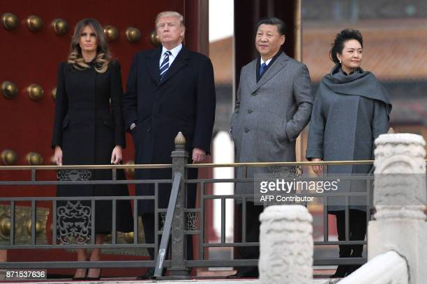 US President Donald Trump First Lady Melania Trump China's President Xi Jinping and his wife Peng Liyuan take a tour in the Forbidden City in Beijing...