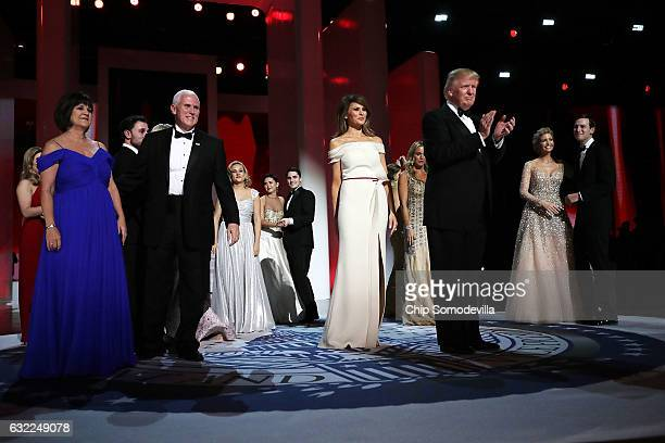 S President Donald Trump first lady Melania Trump US Vice President Mike Pence his wife Karen Pence Ivanka Trump her husband Jared Kushner and family...