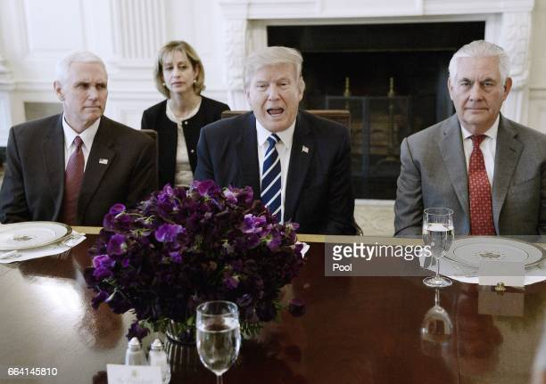 US President Donald Trump flanked by Secretary of State Rex Tillerson and Vice President Mike Pence speaks as President Abdel Fattah Al Sisi of Egypt...