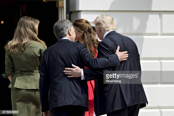 US President Donald Trump from right Juliana Awada first lady of Argentina Mauricio Macri Argentina's president and US First Lady Melania Trump walk...