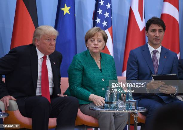 US President Donald Trump German Chancellor Angela Merkel and Canada's Prime Minister Justin Trudeau attend the panel discussion 'Launch Event...