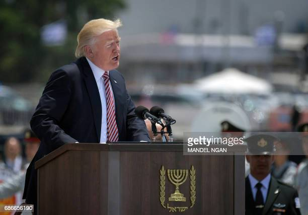 US President Donald Trump give a speech upon his arrival at Ben Gurion International Airport in Tel Aviv on May 22 as part of his first trip overseas...