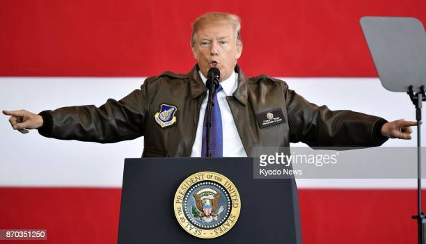 US President Donald Trump gives a speech at US Yokota Air Base in the suburbs of Tokyo on Nov 5 after arriving in Japan for the first time since his...