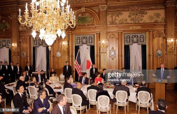 President Donald Trump gives a speech during a speech at the opening of a dinner hosted by Japanese Prime Minister Shinzo Abe at Akasaka Palace in...