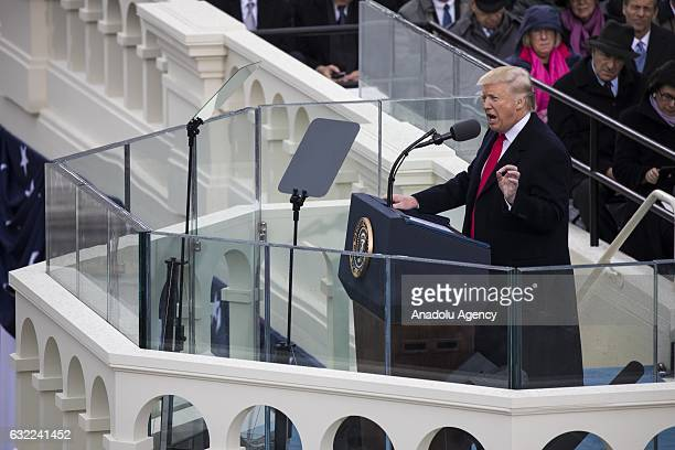 President Donald Trump gives his Inaugural Address during the 58th US Presidential Inauguration where he was sworn in as the 45th President of the...
