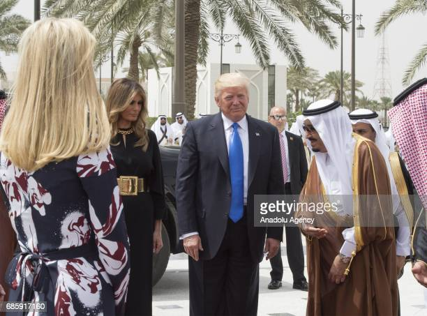 US President Donald Trump his wife Melania Trump and her daughter Ivanka Trump are seen during a meeting with Saudi Arabia's King Salman bin...