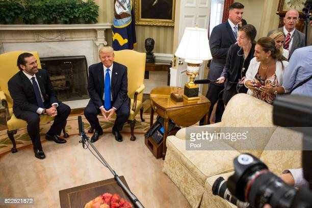 US President Donald Trump holds a bilateral meeting with Saad Hariri Prime Minister of Lebanon in the Oval Office at the White House on July 25 2017...