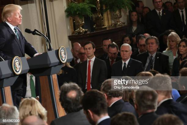 S President Donald Trump holds a joint press conference with German Chancellor Angela Merkel as White House Senior Advisor to the President for...