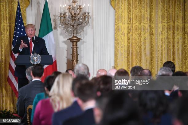 US President Donald Trump holds a joint press conference with Italian Prime Minister Paolo Gentiloni at the White House in Washington DC April 20...