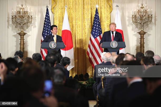 S President Donald Trump holds a joint press conference with Japan Prime Minister Shinzo Abe in the East Room at the White House on February 10 2017...