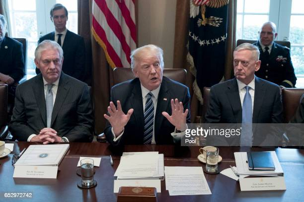 President Donald Trump holds a meeting with members of his cabinet including Secretary of State Rex Tillerson and Secretary of Defense James Mattis...
