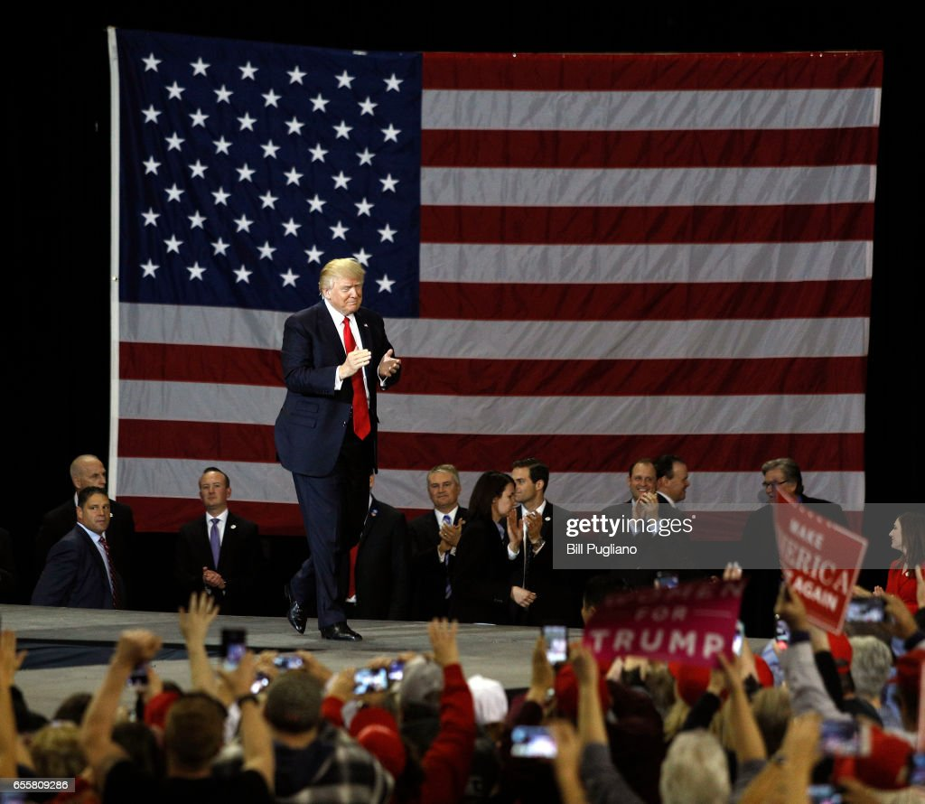 U.S. President Donald Trump holds a rally in Freedom Hall at the Kentucky Exposition Center March 20th, 2017 in Louisville, Kentucky.