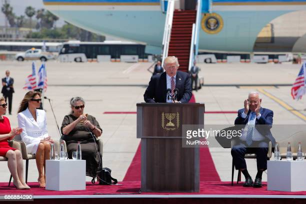 US President Donald Trump holds a speech while Israeli President Reuven Rivlin Sara Netanyahu US First Lady Melania Trump and Israel's First Lady...