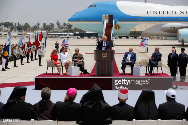 US President Donald Trump holds a speech while Israeli Prime Minister Benjamin Netanyahu and Israeli President Reuven Rivlin Sara Netanyahu US First...