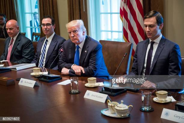 US President Donald Trump holds an expanded bilateral meeting with Saad Hariri Prime Minister of Lebanon in the Oval Office at the White House on...