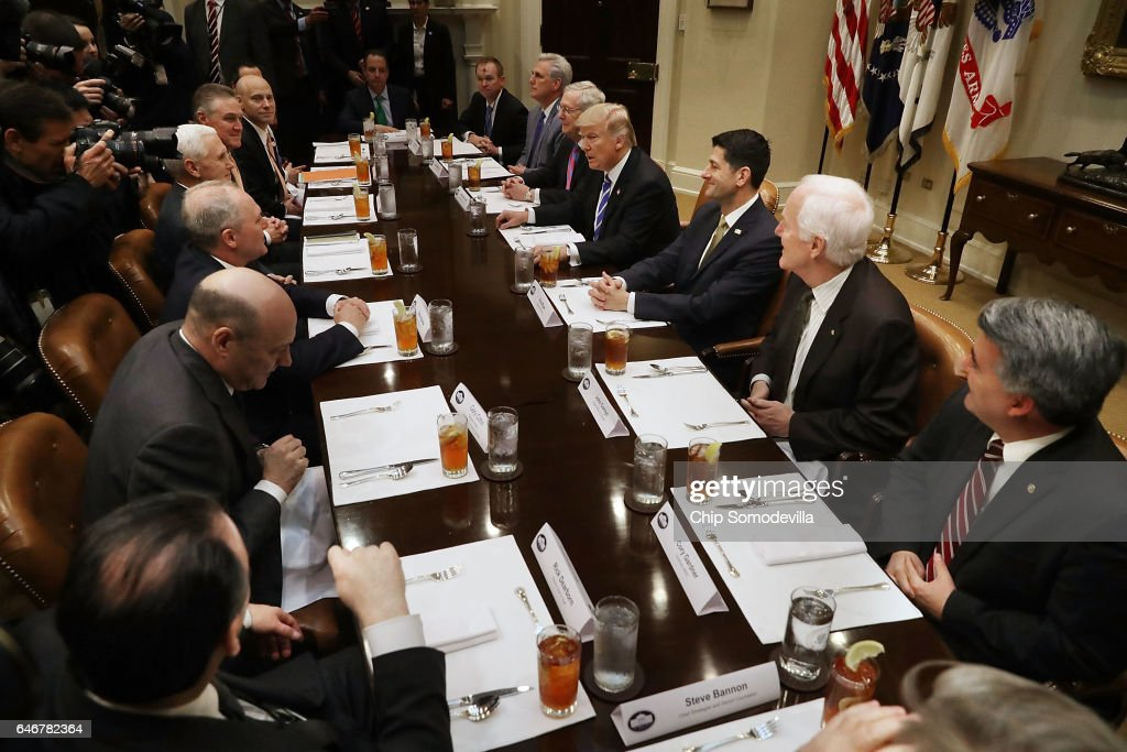 President Trump Hosts Lunch With House And Senate Leadership At White House