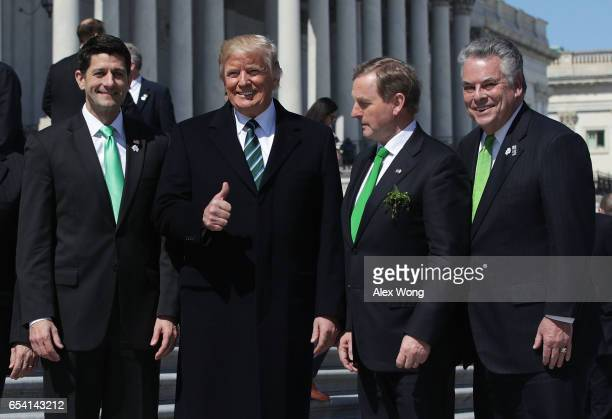 S President Donald Trump House Speaker Paul Ryan Irish Taoisech Enda Kenny and Rep Peter King pose outside the Capitol after the annual Friends of...