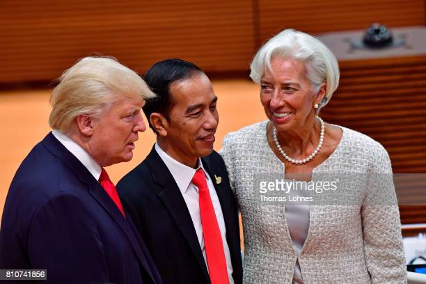 S President Donald Trump Indonesian President Joko Widodo and IMF Managing Director Christine Lagarde attend the morning working session on the...