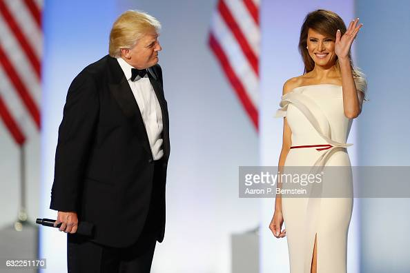 President Donald Trump introduces first lady Melania Trump at the Freedom Inaugural Ball at the Washington Convention Center January 20 2017 in...