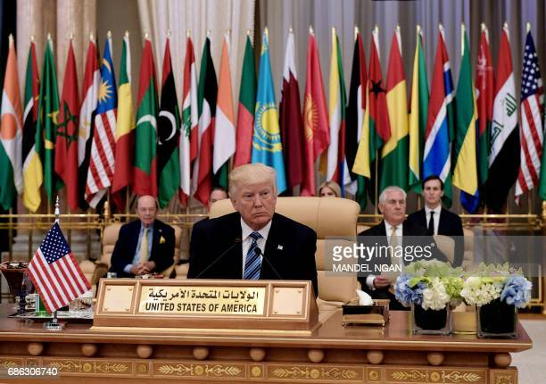 US President Donald Trump is seated for at the Arab Islamic American Summit at the King Abdulaziz Conference Center in Riyadh on May 21 2017 Trump...