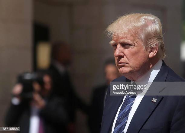 S President Donald Trump is seen during official welcome ceremony prior to his meeting with Palestinian President Mahmoud Abbas in Bethlehem West...