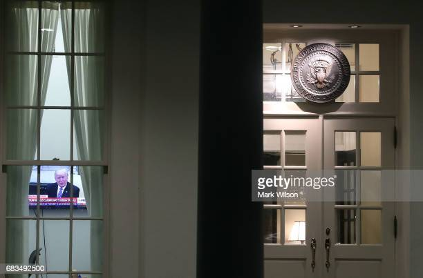S President Donald Trump is seen on a television news show in the West Wing of the White House on May 15 2017 in Washington DC Earlier National...