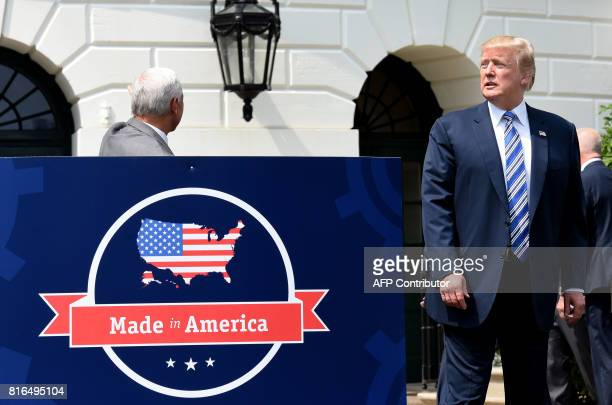 President Donald Trump is seen on the South Portico during a Made in America product showcase event at the White House in Washington DC on July 17...