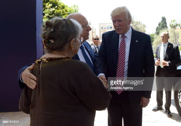US President Donald Trump is welcomed by Israeli President Reuven Rivlin and his wife Nechama Rivlin in Jerusalem on May 22 2017