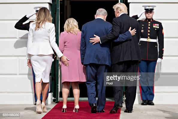 US President Donald Trump Israeli Prime Minister Benjamin Netanyahu and their wives first lady Melania Trump and Sara Netanyahu walk into the White...