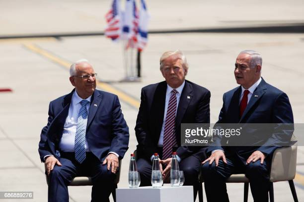 US President Donald Trump Israel's Prime Minister Benjamin Netanyahu and Israel's President Reuven Rivlin sit next to each other during a welcoming...