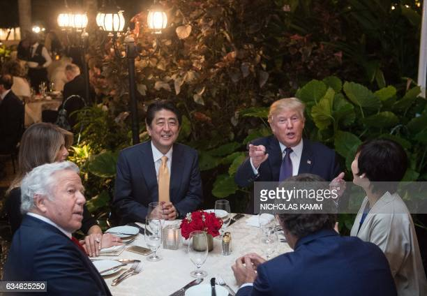 US President Donald Trump Japanese Prime Minister Shinzo Abe his wife Akie Abe US First Lady Melania Trump and Robert Kraft owner of the New England...