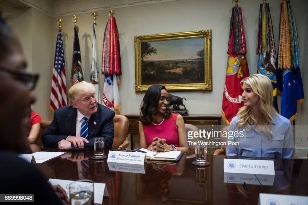 President Donald Trump joined by Jessica Johnson of Johnson Security Bureau center and Ivanka Trump participate in a meeting with women small...