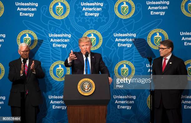 US President Donald Trump joined by Vice President Mike Pence and Energy Secretary Rick Perry delivers remarks at the Unleashing American Energy...