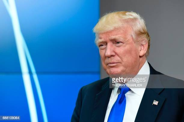 US President Donald Trump leaves after a meeting with EU officials at EU headquarters on the sidelines of the NATO summit in Brussels on May 25 2017...