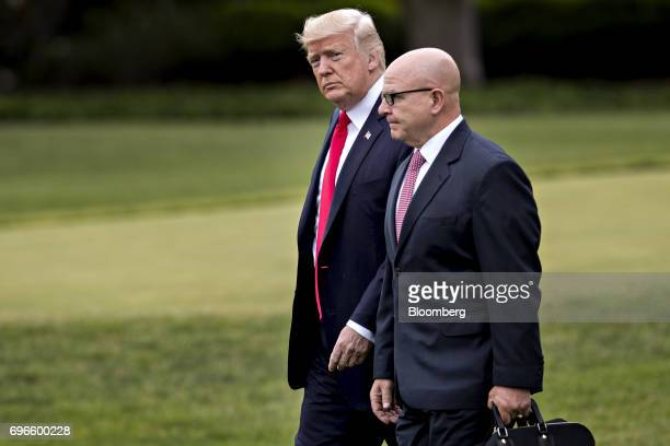 US President Donald Trump left and HR McMaster national security advisor walk toward Marine One on the South Lawn of the White House in Washington DC...