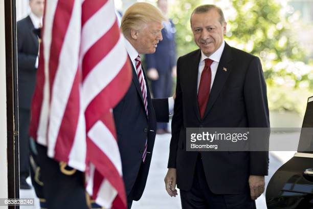 US President Donald Trump left greets Recep Tayyip Erdogan Turkey's president at the West Wing of the White House in Washington DC US on Tuesday May...