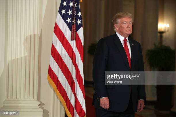 S President Donald Trump lisens during a nomination announcement at the East Room of the White House October 12 2017 in Washington DC President Trump...