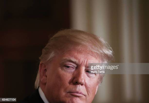 President Donald Trump listens during a joint press conference with Japanese Prime Minister Shinzo Abe at the White House on February 10 2017 in...