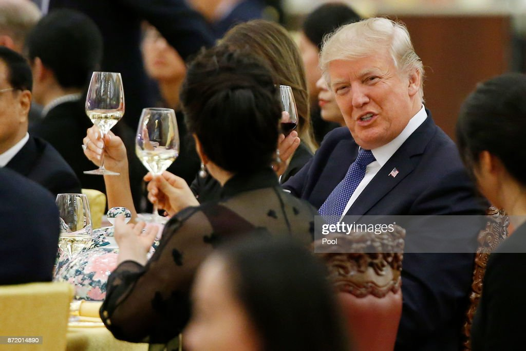 U.S. President Donald Trump makes a toast during a state dinner hosted by his Chinese counterpart Xi Jinping at the Great hall of the People on November 9, 2017 in Beijing, China. Trump is on a 10-day trip to Asia.