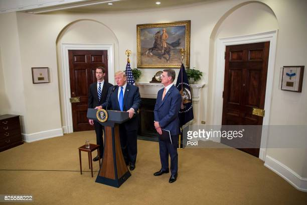 US President Donald Trump makes an announcement on the introduction of the Reforming American Immigration for a Strong Economy Act with Sen Tom...