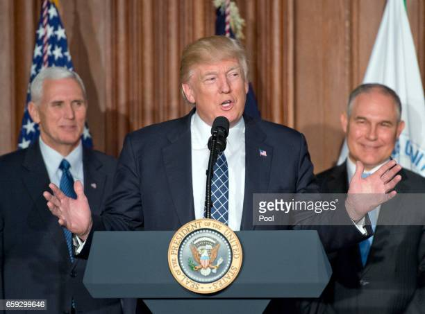 President Donald Trump makes remarks prior to signing an Energy Independence Executive Order at the Environmental Protection Agency Headquarters on...