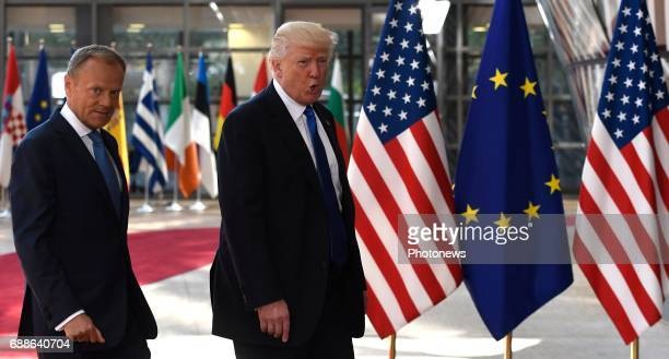 President Donald Trump meeting with JeanClaude Juncker and Donald Tusk in Brussels