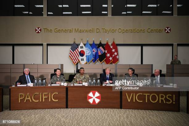 US President Donald Trump meets generals at the 8th Army Operational Command Centre at Camp Humphreys in Pyeongtaek south of Seoul on November 7 2017...