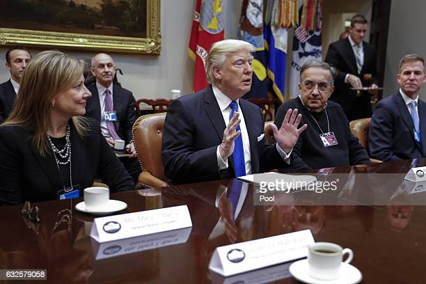 President Donald Trump meets with CEO of General Motors Mary Barra CEO of Fiat Chrysler Automobiles Sergio Marchionne and Fiat Chrysler Head of...