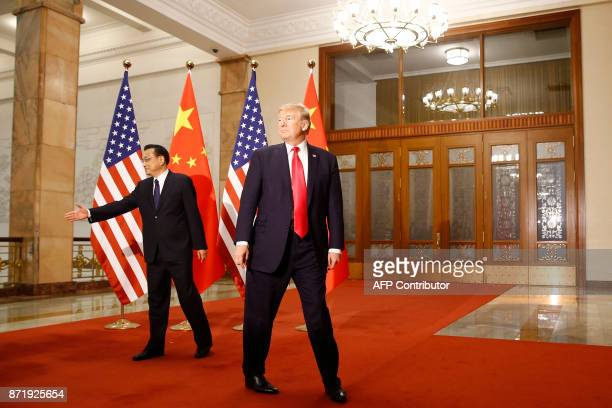 President Donald Trump meets with Chinese Premier Li Keqiang at the Great Hall of the People in Beijing on November 9 2017 Donald Trump and Xi...