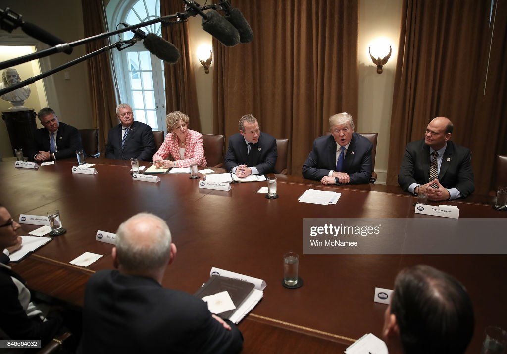 U.S. President Donald Trump meets with Democratic and Republican members of Congress in the Cabinet Room of the White House September 13, 2017 in Washington, DC. Trump has met with bipartisan groups of Congress over the past two days as his administration prepares to bring tax reform legislation before Congress.