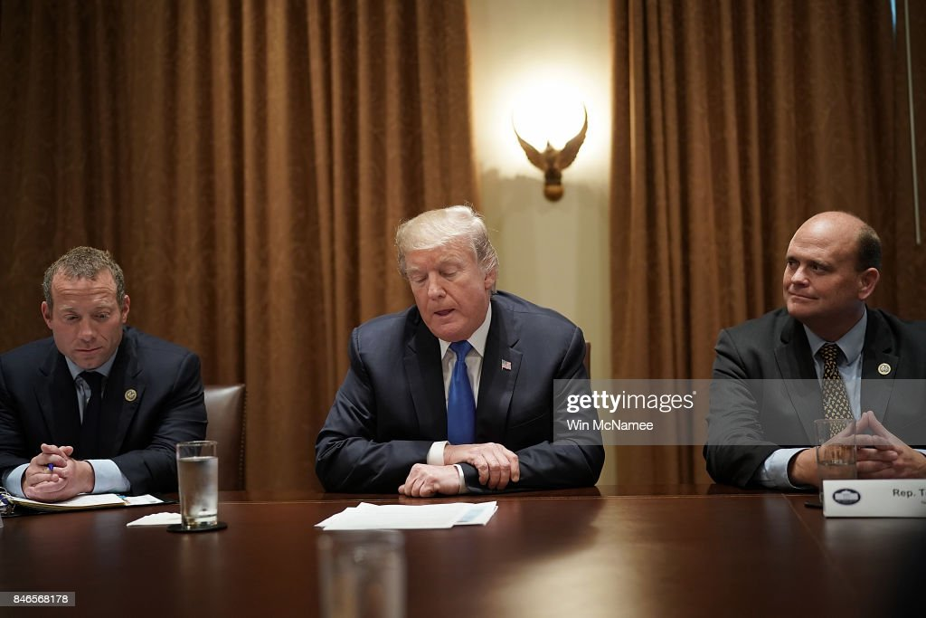 U.S. President Donald Trump (C) meets with Democratic and Republican members of Congress, including Rep. Josh Gottheimer (L) (D-NJ) and Rep. Tom Reed (R) (R-NY), in the Cabinet Room of the White House September 13, 2017 in Washington, DC. Trump has met with bipartisan groups of Congress over the past two days as his administration prepares to bring tax reform legislation before Congress.