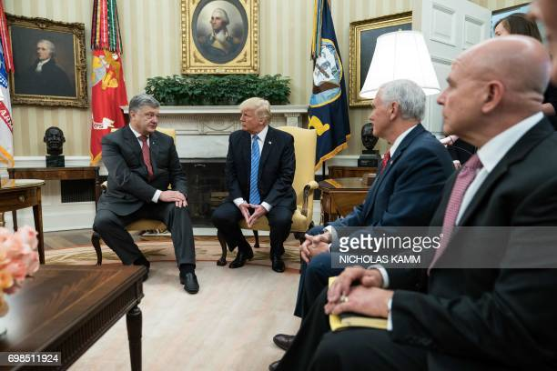 US President Donald Trump meets with his Ukrainian counterpart Petro Poroshenko as Vice President Mike Pence and National Security Adviser HR...